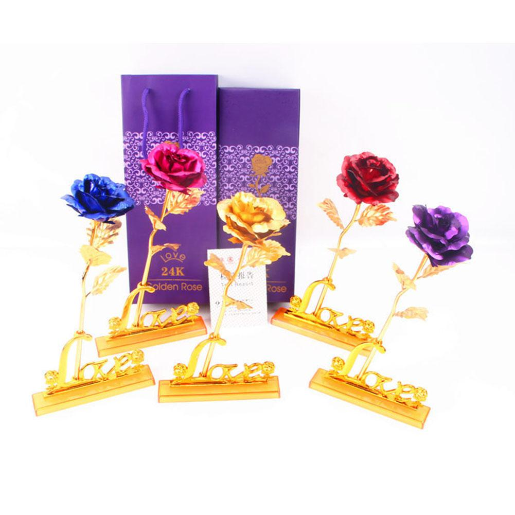 LumiParty 24k Foil Plated Rose With Leaf For Wedding