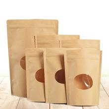 50PCS/set Natural Kraft Paper Food Storage Bag Self Standing Sealed Oval Window Zipper Tea Packaging