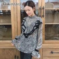 TWOTWINSTYLE Leopard Print Chiffon Shirt Blouse Women Flare Sleeve Ruffle Pullover Tops Female 2018 Autumn Korean Fashion New