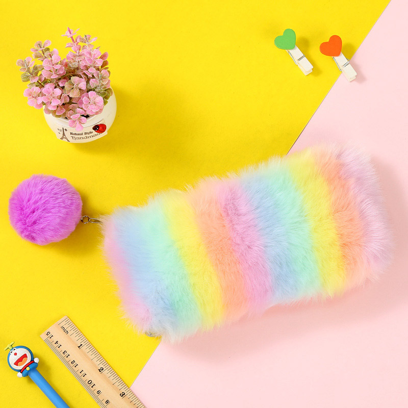 Kawaii Zipper Hair Ball Pen Bag Rainbow Plush Pencil Case Large Capacity Pencil Pouch Kids Girls Gift School Stationery Supplies