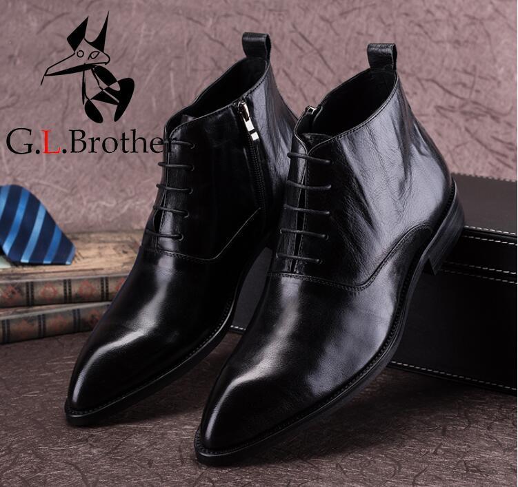Ботильоны С Острым носком Туфли под платье Для мужчин из натуральной кожи высокий верх открытый Повседневное Мужская зимняя обувь Botas Homme бо