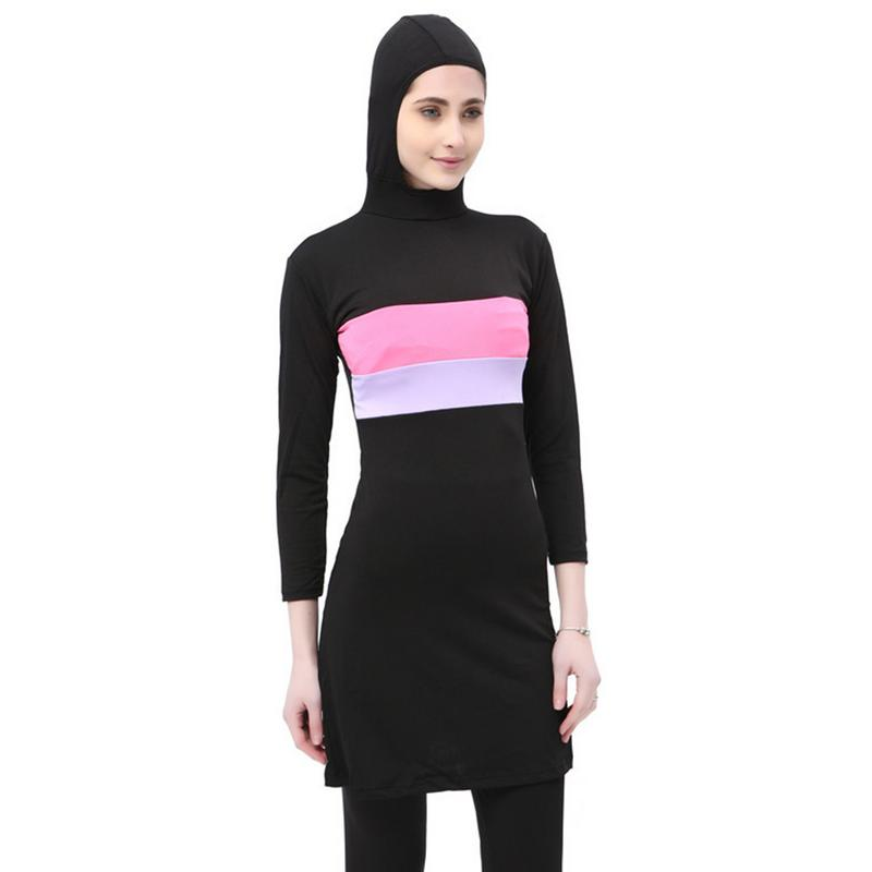 Women Stripe Printed Muslim Swimwear Hijab Muslimah Islamic Plus Size Swimsuit Swim Surf Wear Sport Burkinis 5XL