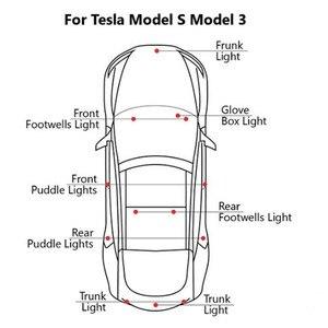 Image 3 - LED blanc Ultra lumineux (lentille transparente) lumière intérieure à haut rendement lampe de porte de voiture Kit de lumière de coffre de flaque deau pour Tesla modèle 3 S X(2 pièces)