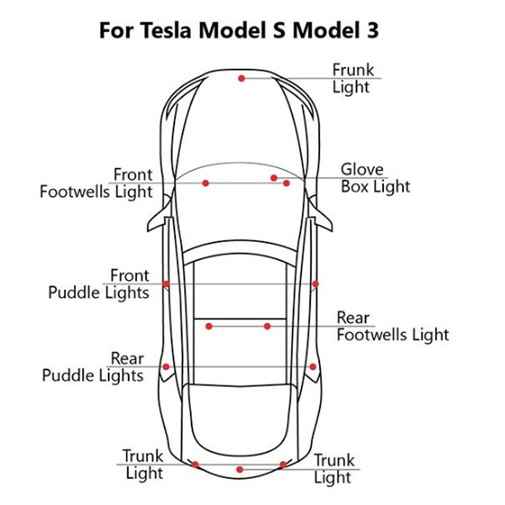 Ultra-bright WHITE LED (Clear Lens) High Output Interior Light Car Door  Lamp Puddle Trunk Light Kit for Tesla Model 3 S X(2 PCS)