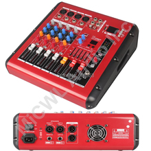 Pro Red 4 Channel 800W watt Karaoke Stage Power Mixer Mixing Console Sound Voice Processor Wireless Bluetooth PMR401-AMP