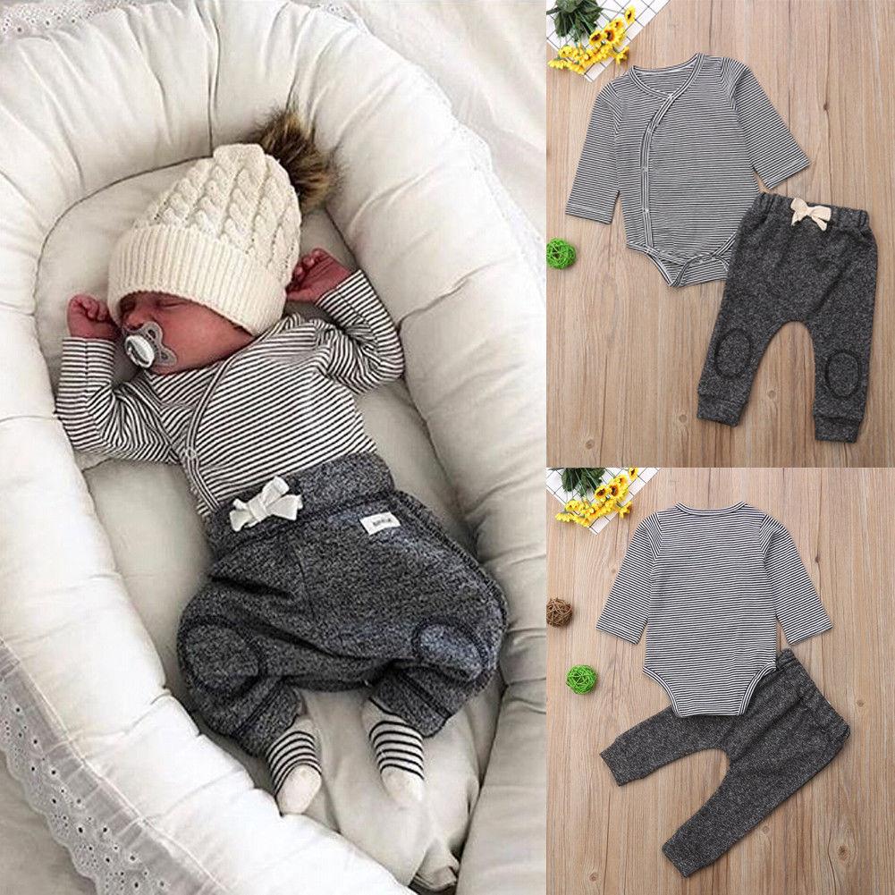 Комплекты одежды для мальчиков, хлопковые комбинезоны в полоску для новорожденных мальчиков, 2 шт., топ + длинные штаны, одежда для детей 0-24 м...