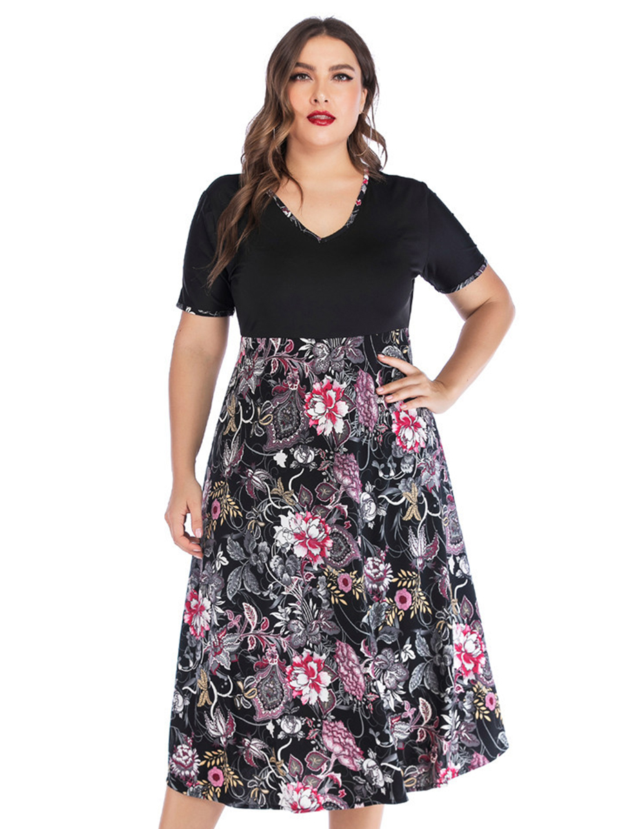 Women swing dress Casual summer elegant A-line style Plus Size Short Sleeve V-neck Mid-Calf vintage ladies Floral Dress vestidos