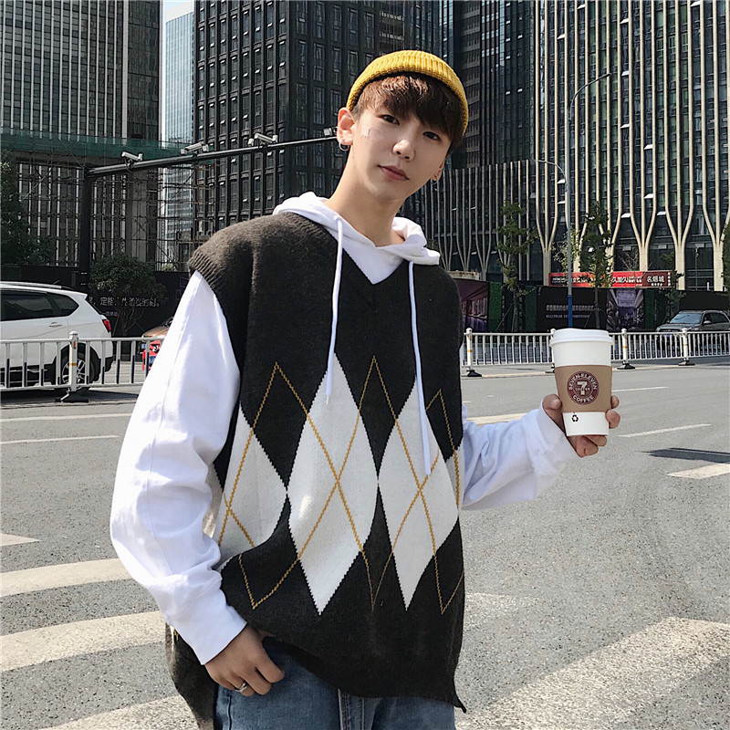 Spring-Clothes Sweater Pullovers Knitting-Vest-V Men-Cotton Diamond Lattice Lead Ancient