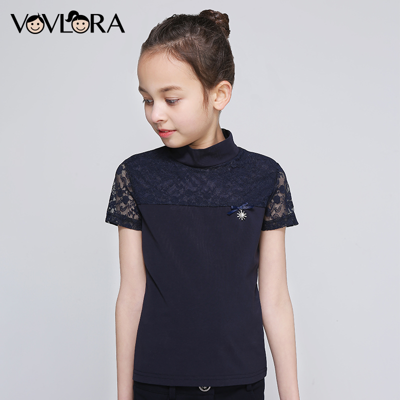 Girls School T shirts Lace Patchwork Cotton Kids T shirt Tops Summer Short Sleeve Children Clothes 2018 Size 6 7 8 9 10 11 12 Y plus size bell sleeve lace insert t shirt
