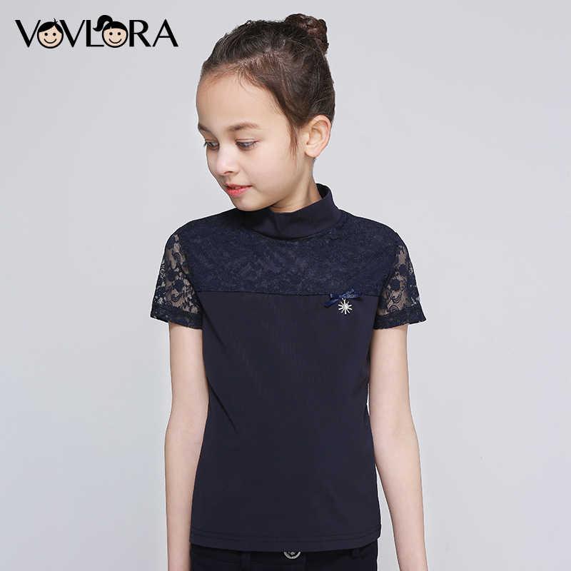 71ad22b6d3a VOVLORA 2019 футболка детская для девочки Школьная блузка из хлопка  короткие рукава кружево воротник стойка топ