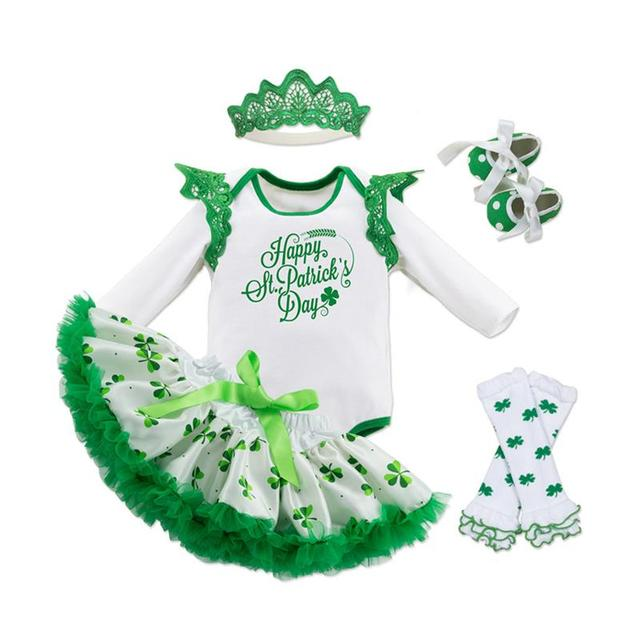 5pcs Baby Girls St Patrick Day Outfit Shamrocks Green Party Costume Dress Set Toddler Girl Dresses