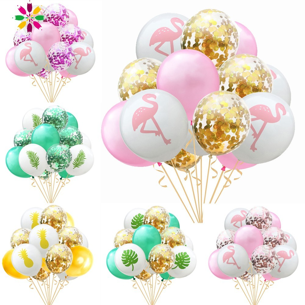 Us 3 37 11 Off Summer Hawaiian Party Decorations Flamingo Decorations 15pcs Latex Confetti Balloons Tropical Birthday Decorations Luau Party In
