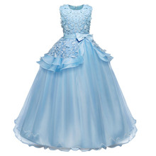 Flower Baby Girl Princess Dress Kids Long Evening Dresses For Girl Party Events Children Clothing Tutu Fluffy Prom Gown цена в Москве и Питере