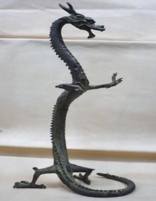 Figurines de Statue de Dragon chinois en Bronze exquis de 17 pouces de hauteur