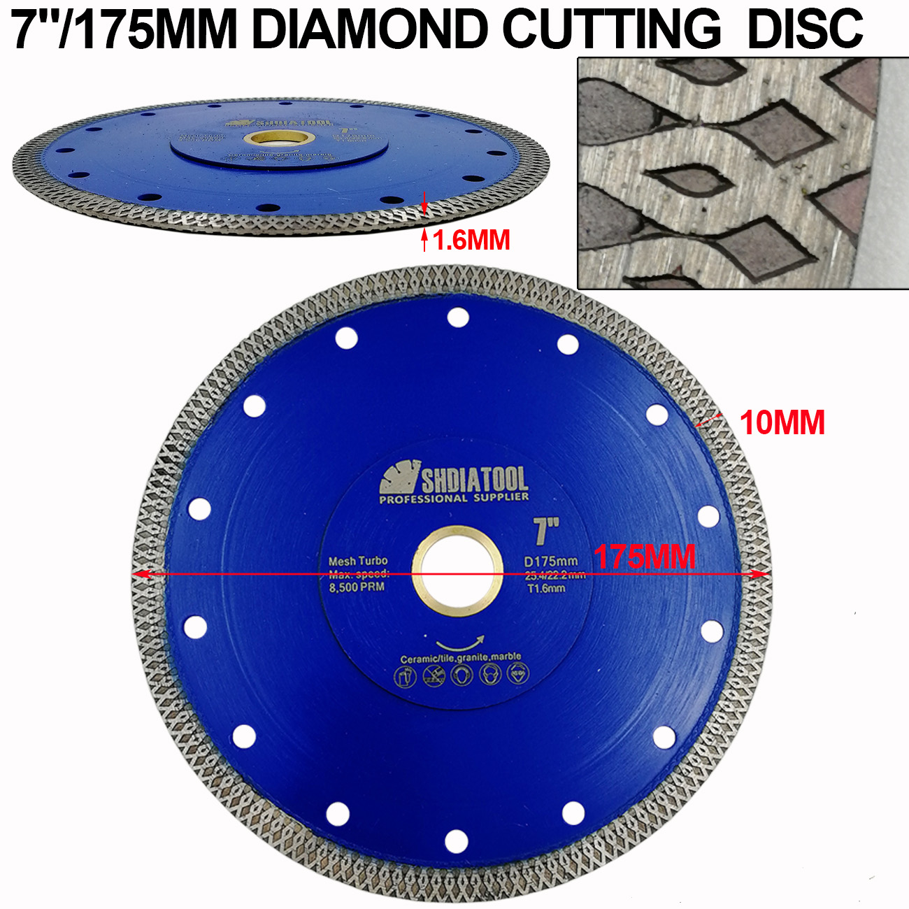"Купить с кэшбэком SHDIATOOL 2pcs Diamond Cutting Disc X Mesh Turbo Rim Segment Dia 4"" 4.5"" 5"" 7"" 8"" 9"" 10"" Diamond Saw Blade Cutting Marble Tile"