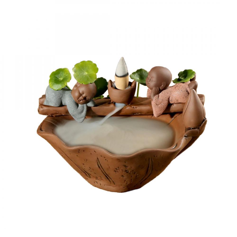 The Little Monk Crescent Ceramic Backflow Incense Burner Rockery Smoke Waterfall Holder Crafts Creat Home Decor