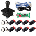Zero Delay USB Encoder To PC Games Happ Style Joystick  8x Push Buttons  Two Player Button For Arcade Joystick DIY Kits Parts