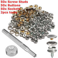 50pcs Stainless Steel Snap Fastener Screw Kits Push Button With Attaching Tool For Tonneau Cover Boat Cover Garden Sewing Tools