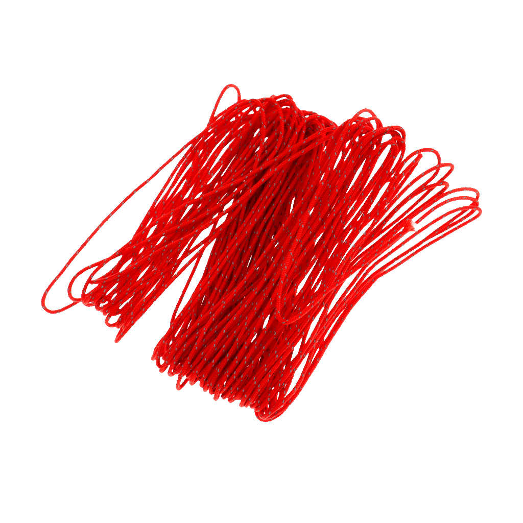 20M 1.8 Mm Tenda Kemah Tenda Reflektif Guyline Tali Pelari Kabel-Merah Reflektif Guyline Tali