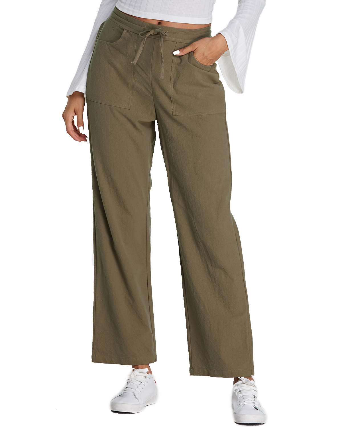 ZANZEA 2019 Casual Wide Leg Pants Women Elastic Mid Waist Trouser Plus Size Cotton Loose Pant Trouser Full Length Pantalon Mujer