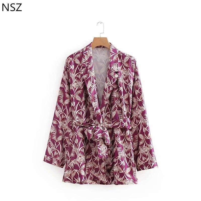 NSZ Women Print Satin Lightweight Blazer Kimono Jacket Sashes Loose Casual Belted Side Slit Coat Jacket Autumn