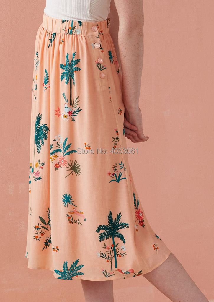 100 Viscose Pink Coconut Flower Print Long Skirt 2019 Spring Summer Women Holiday Beach Skirt
