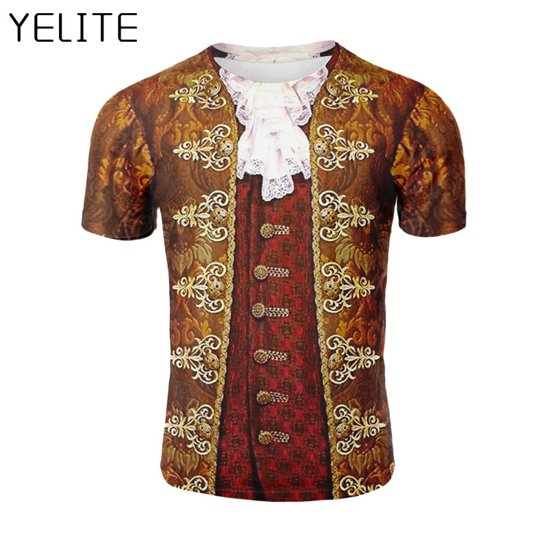 YELITE Ancient Roman Nobility Gentleman 3D Printed T Shirt Pullover Summer Short Sleeve Prince T Shirt Fashion Gentleman Style