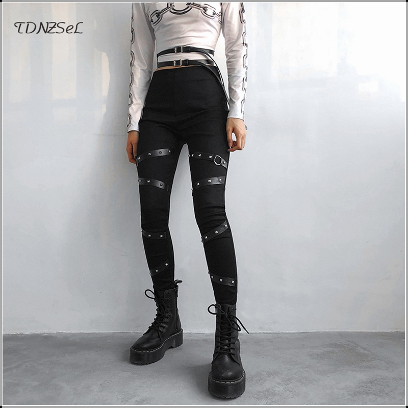 Women Mid Waist Punk Gothic Pencil Pants Leggings Side Zipper Rivet Black Skinny Trouser PU Bandage Slim Streetwear Capris 2019