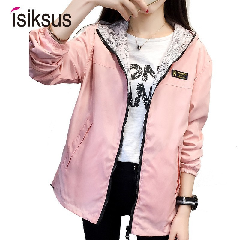 Isiksus Black Windbreak   Jacket   Women Long Sleeve Hooded Coats Spring Autumn Casual Solid Zip Up   Basic     Jackets   for Women WJ020