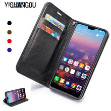 YISHANGOU Luxury Magnetic Flip Genuine Leather Wallet Card Case Cover For Huawei P30/P20 LITE Mate 20 Pro/Y6/Y7/Y9 PRIME 2018(China)