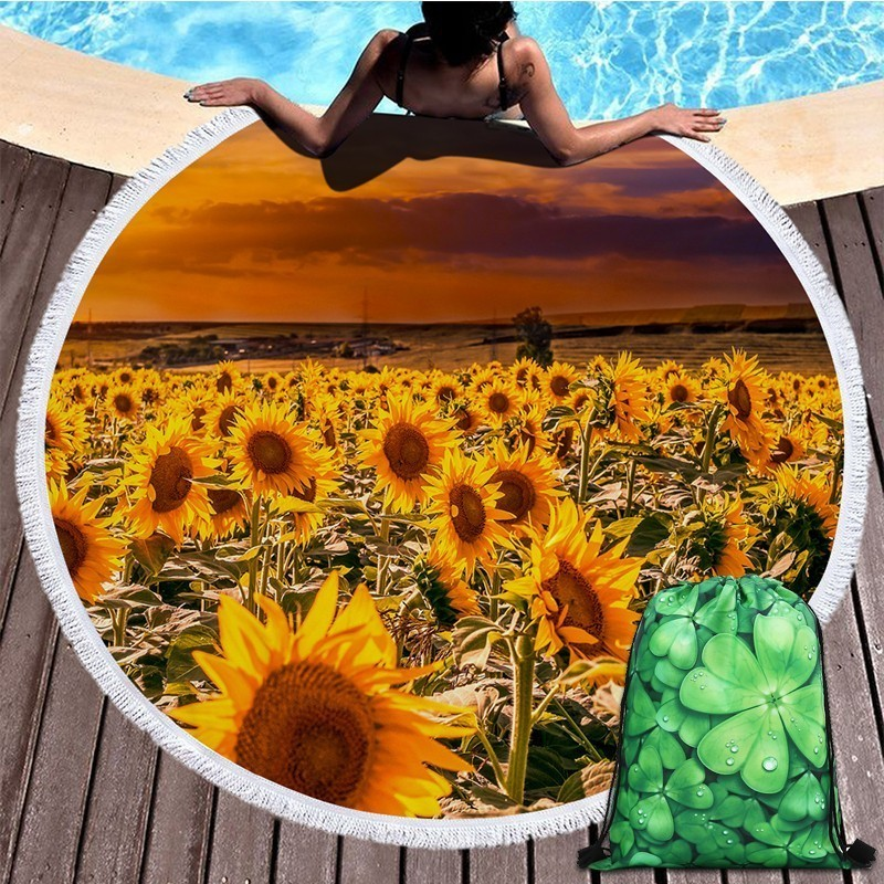 Sunflower Floral Round Beach Towel Summer Picnic Yoga Mat Swimming Bath Towels