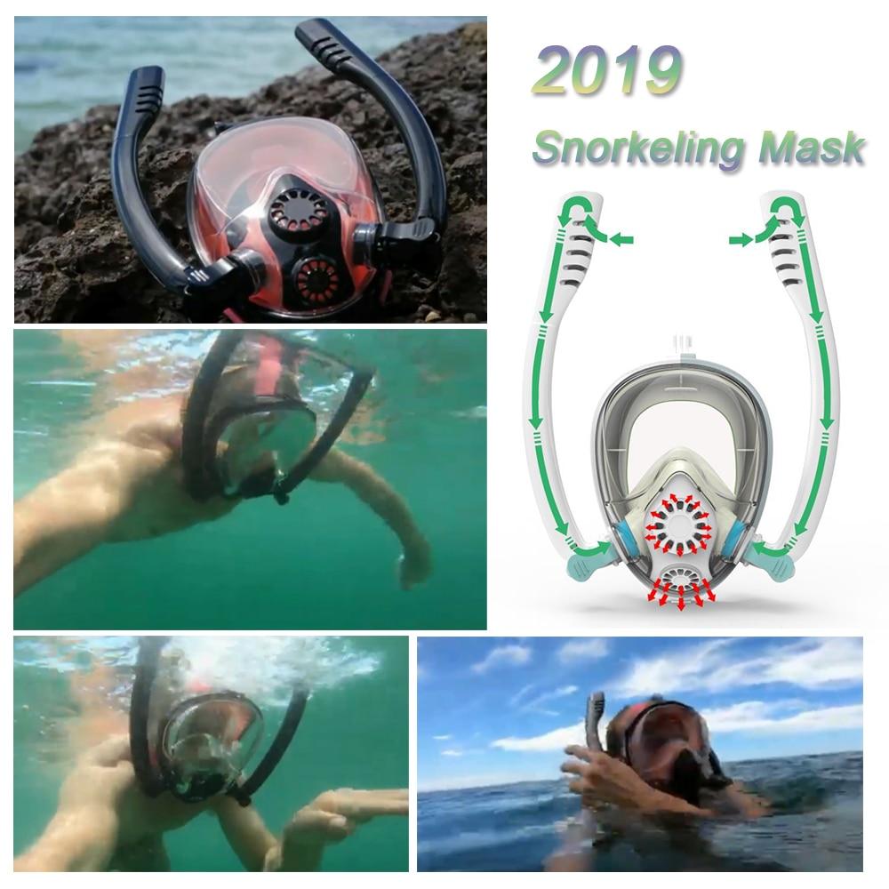 2019 nouveau Design système de respiration avancé masque de plongée masque de plongée sous-marine Anti-buée plein visage natation tuba équipement de plongée