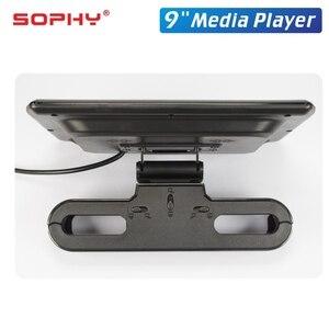 Image 3 - 9 סנטימטרים רכב LED כרית משענת ראש צג אחורי מושב בידור מולטימדיה נגן MP4/MP5 מראה קישור להסרה מגע מסך