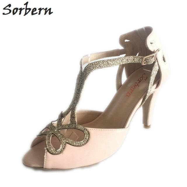 c14ceff8e56 Sorbern Blush Pink Bridal Shoes Open Toe Gold Glitter Straps Wedding  Sandals T-Straps Desginer