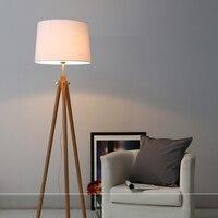 Modern Nordic tripot Floor Lamps Wood Fabric Lampshade Tripod Standing Lamp for Living Room Bedroom Indoor Home Lighting Fixture