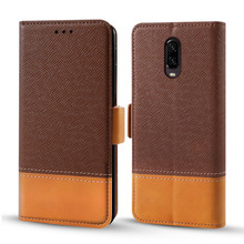 Slim Case For OnePlus 7 Pro Contrast Color Series PU Leather Flip Stand Wallet Cover with Card Holders Protective Armor Fundas