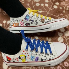 KPOP Star BTS Bangtan Boys BT21 Love Yourself Canvas Shoes for Woman JUNG KOOK JIMIN Fans Support Casual Cartoon Shoes Flats(China)