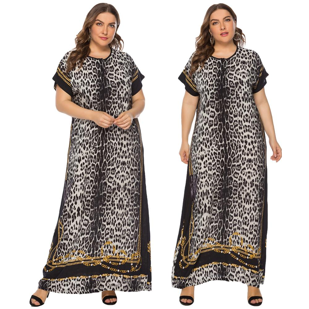 Summer Dress Muslim Women Leopard Loose Long Boho Dress Short Sleeve Kaftan Abaya Caftan Robe Plus Size O-neck Arab Middle East