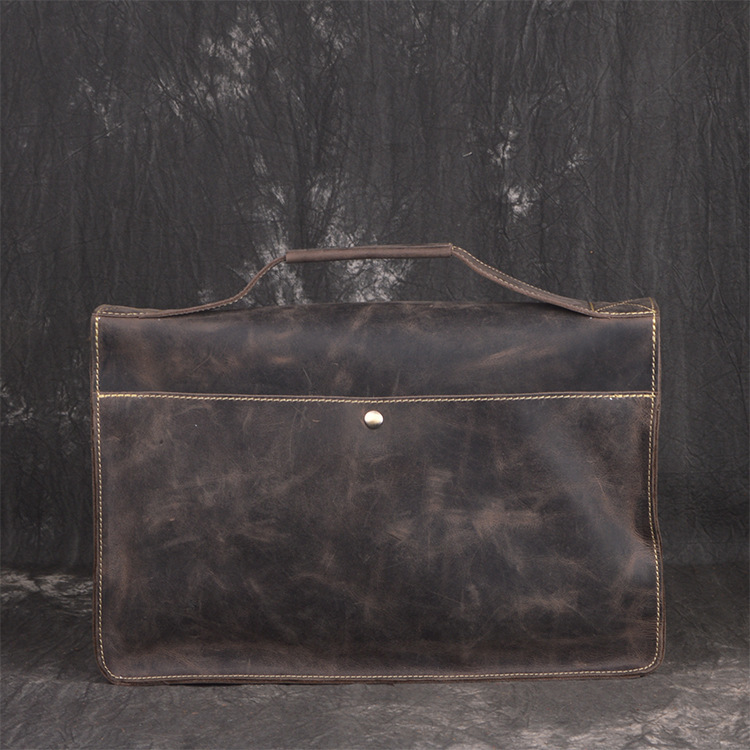 Business Tasche Reisetasche Brown Color Horse Umhängetasche Leder Dark Vintage Laptop Männlichen Kuh deep Männer Coffee Echtes 2019 Aktentasche Crazy 7ZPOp