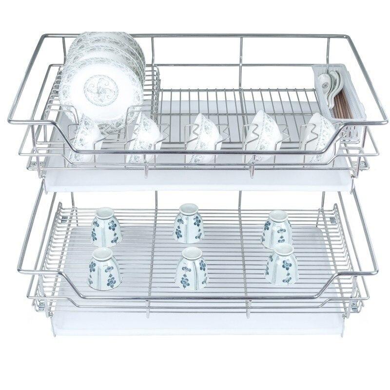 Organizador Cocina Cestas Para Organizar Accessories Stainless Steel Rack Cozinha Organizer Kitchen Cabinet Storage Basket
