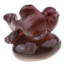 Изменить цвет Чай Домашние животные Золотая рыбка Статуэтка китайский чай церемония Декор поставка желтый