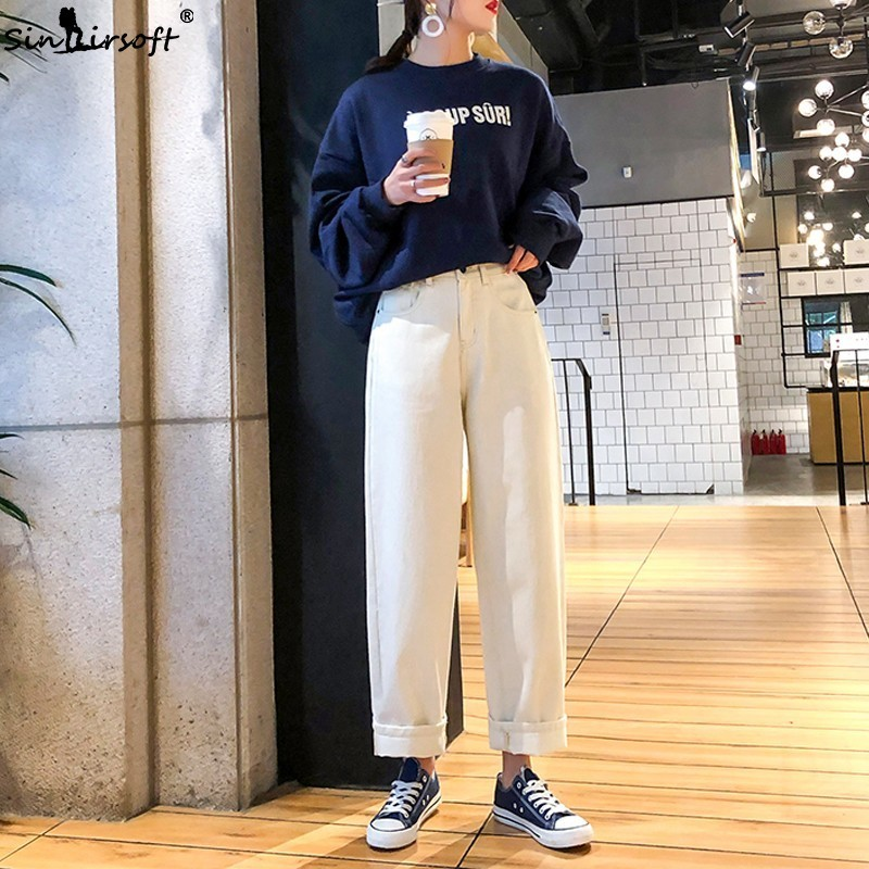 Korean White   Wide     Leg     Pants   Jeans For Women Vintage High Waist Denim Casusal Loose Straight Boyfriend Mom Jeans Trousers 2019