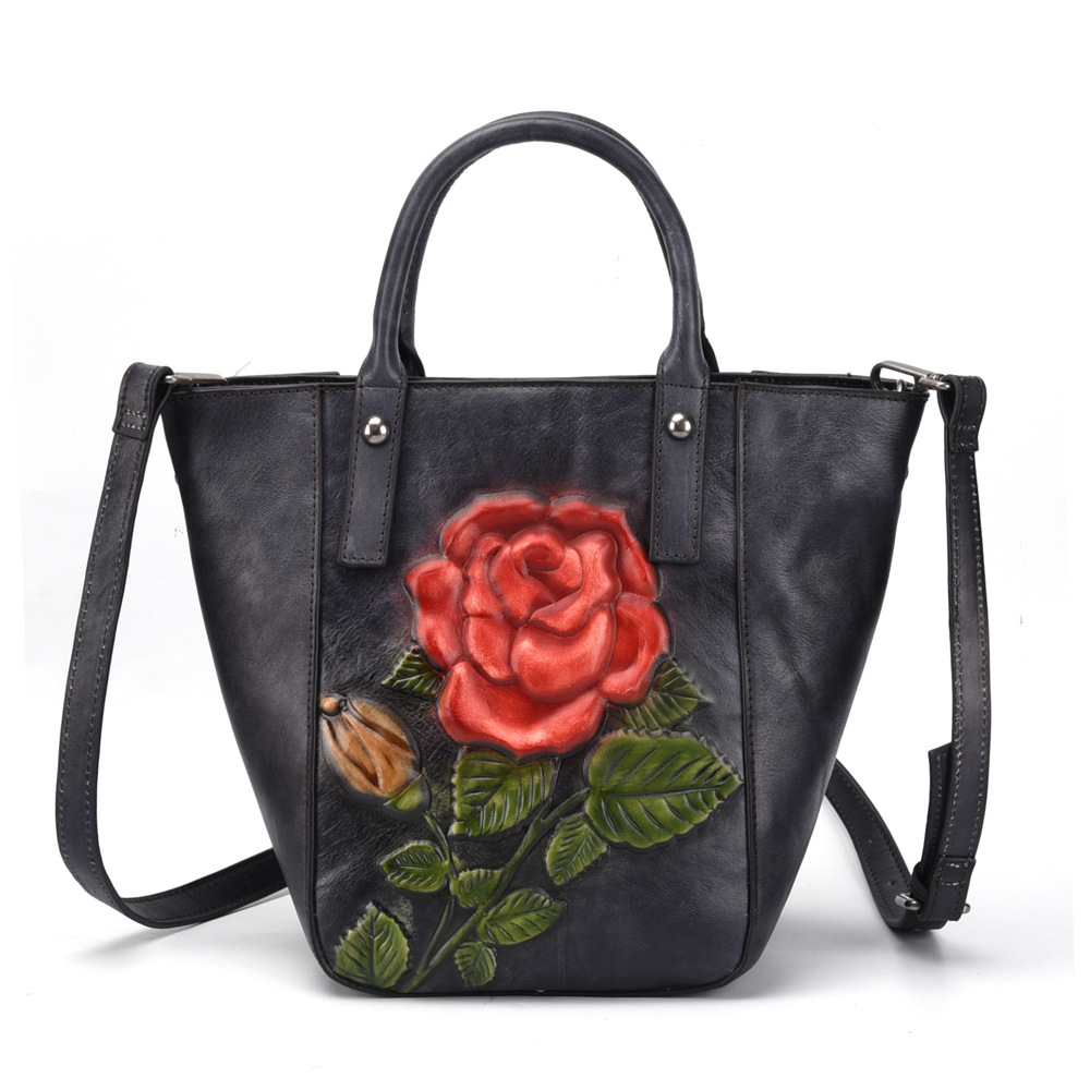 High Quality Genuine Leather Women Messenger Shoulder Bags Floral Tote Embossing Shopping Handbag Real Cowhide Top Handle Bag