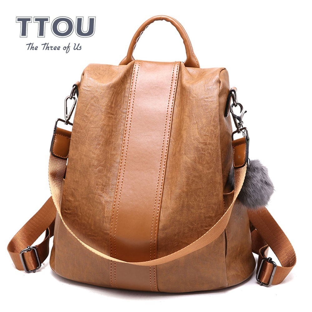 TTOU Fashion Anti-theft Quality Leather Backpacks Women Casual Backpacks Female Large Capacity Travel Shoulder Bags