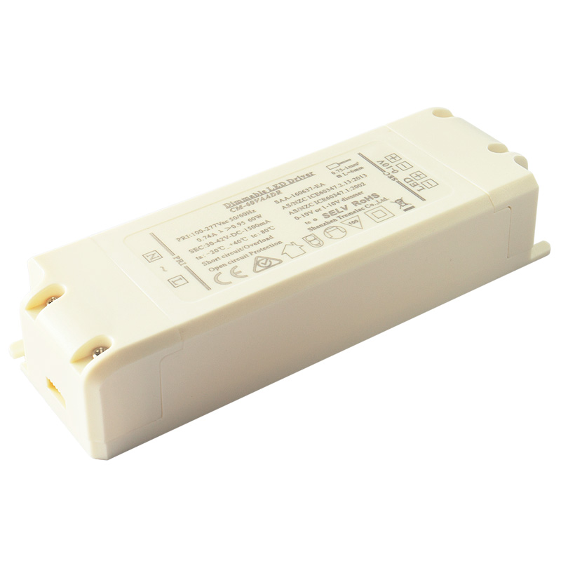 Max 45-60W 0-100% 0-10V Dimming led driver transformer 1.5A constant current dimming range EMC LVD SELV isolation design