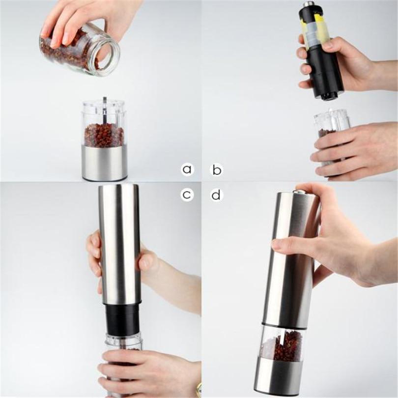 Image 4 - Molinillo Eléctrico de pimienta y sal molinillo de pimienta aspereza ajustable molinillo de especias Muller herramienta de cocina batería no incluidaMolinillos   -
