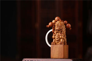 Wood 3D Carved Chinese Lion Foo Dog Statue Sculpture Pendant Key Chain