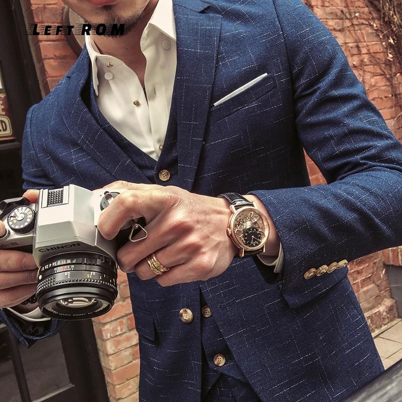 (Jas + Vest + Broek) mens Wedding Pak Mannelijke Blazers Slim Fit Pakken voor Mannen Kostuum Business Formele Party Classic Zwart/Grijs/Navy - 3