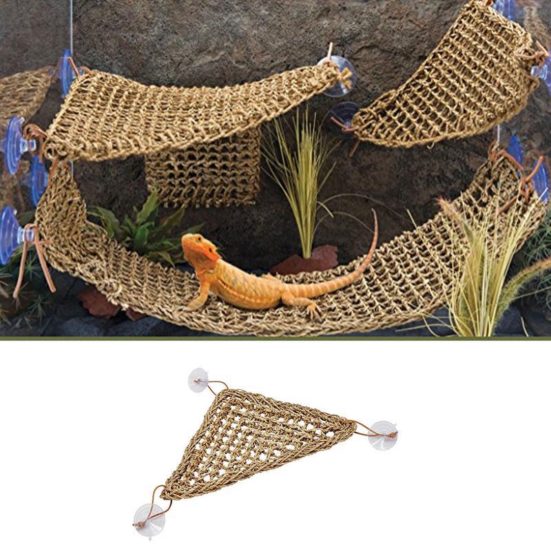 Lizard Hammock Straw Lizard Straw Mat Lizard Nest Pet Reptiles Straw Mat With Suction Cup