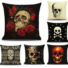 Цветочный чехол для подушки с изображением черепа-призрака, чехол для подушки для офиса и дома, 18 дюймов, Мягкая комната, подарки, односторонняя печать